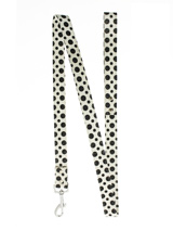 Black / White Polka Dot Glitter Lead - Leather lead with a silver clip and black and white polka dot glitter pattern.S-M Width: 14mmM-L Width: 19mmL-XL Width: 25mmLead Length: 1.08m / 48''