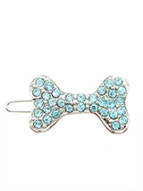 Swarovski Bone Hair Clip / Dog Barrette (Blue Crystals) - Dogs and bones go together so why not treat them to this beautiful bling hair clip. With their hair pinned back they can see where they are going and look beautiful at the same time.
