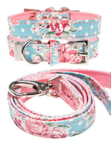 Vintage Rose Floral  Fabric Collar & Lead Set - Our Vintage Rose Floral pattern collar and lead set will brighten up even the dullest of days. It is a contemporary style and the floral pattern is right on trend. It is lightweight and incredibly strong. The collar has been finished with chrome detailing including the eyelets and tip of the collar....
