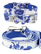 Blue Floral Bouquet Fabric Collar & Lead Set - Our Floral Bouquet pattern collar and lead set is a rich contemporary style and the floral pattern is right on trend. It is lightweight and incredibly strong. The collar has been finished with chrome detailing including the eyelets and tip of the collar. A matching harness and bandana are available...