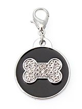 Black Enamel / Diamante Bone Dog Collar Charm - If you are looking for bling then look no further. Our Black Enamel / Diamante Bone Dog Collar Charm is encrusted with diamantes set against a beautiful black enamel background. It attaches to any collar's D-ring with a lobster clip. The perfect accessory to add bling to your dog's collar.