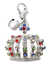 Crown Jewels Dog Collar Charm in Silver - Designed in the style of the crowns of the Imperial Russian Court this beautiful charm features green, blue, red and pink  diamanté crystals set in silver alloy. This is an accessory fit for royalty. It also has a little silver bell that lets you know when you dog is the move. You can't much more bl...