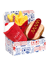 Hotdog Meal Deal Box (3 Toy Combo) - Get your dog a meal deal bargain with our Hot Dog, fries, and milkshake combo! What could be better than a juicy hot dog with fries all washed down with cool milkshake. For maximum fun pretend it is for you and savour it before handing it over, it will make it even more desirable. The harder your pu...