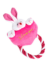 Heart to Heart Bunny Rope Toy - Give you dog a heartfelt message of love with our tug O 'war 'I love you' toy. Dogs like nothing better than a round of tug o' war, but just remember to let them win! This toy will provide hours of fun for your pup as he squeaks with every bite. These soft, cute and cuddly toys are designed for your...