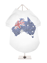 Australia Flag GlamourGlitz Dog T-Shirt - Exclusive GlamourGlitz 100% Cotton Dog T-Shirt. A full Australian Flag design crafted with Red, Silver and Blue Rhinestuds that catch a sparkle in the light. Wear on it's own or match with a GlamourGlitz ''Mommy and Me'' Women's T-Shirt to complete the look.